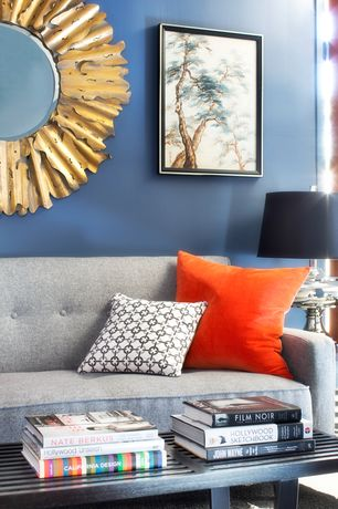 Contemporary Living Room with Carpet, Modern In Designs George Nelson Style Bench, Target Emmeline Tufted Sofa, Paint 1