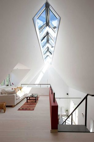 Contemporary Living Room with Standard height, can lights, Carpet, Casement, Skylight