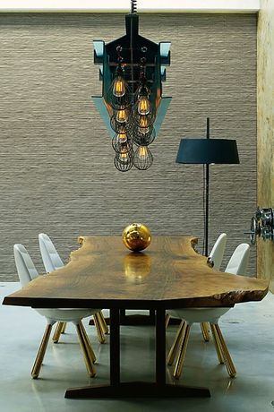 Contemporary Dining Room with Pendant light, Concrete floors, interior wallpaper, Standard height