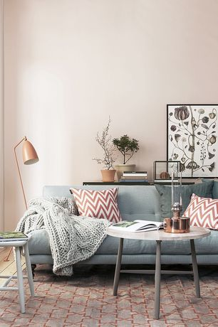Contemporary Living Room with Orange floor lamp, Carl hansen & son wegner coffee table, Hardwood floors