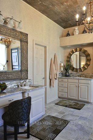 Contemporary Master Bathroom with Bianco Typhoon, Granite By Arizona Tile, Crown molding, Chandelier, limestone tile floors