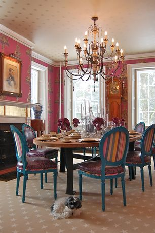 Traditional Dining Room with stone fireplace, Standard height, interior wallpaper, Fireplace, Carpet, Chandelier, Casement