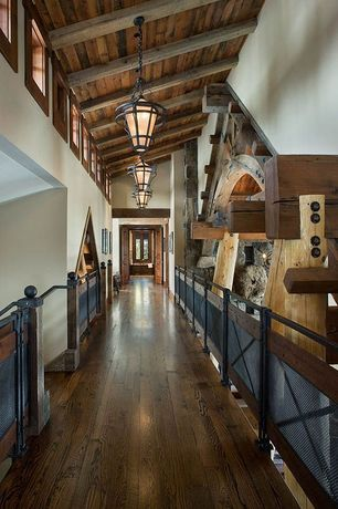 Rustic Hallway with Exposed beam, Hardwood floors, Architectural Mesh Railing, Loft, Wrought Iron Chandelier CH055