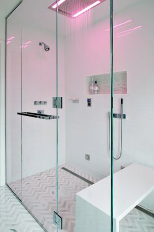 Modern Master Bathroom with Handheld showerhead, herringbone tile floors, frameless showerdoor, Master bathroom, flush light