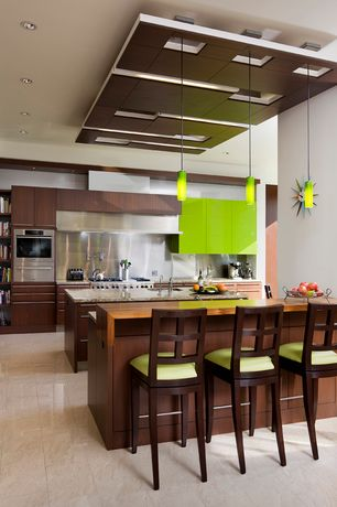 Modern Kitchen with Ceiling soffit, Ms international - giallo ornamental granite, Stainless Steel, Wood breakfast bar