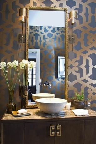 Contemporary Powder Room with interior wallpaper, Flush, Vessel sink, European Cabinets, large ceramic tile counters