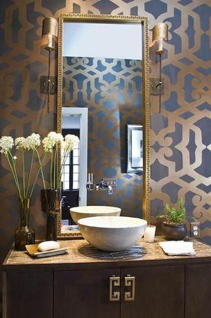 Contemporary Powder Room with Powder room, interior wallpaper, Vessel sink, Phillip Jefferies Rings Wallpaper, Flush