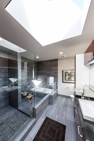 Contemporary Master Bathroom with European Cabinets, frameless showerdoor, Bathtub, Standard height, Master bathroom, Flush