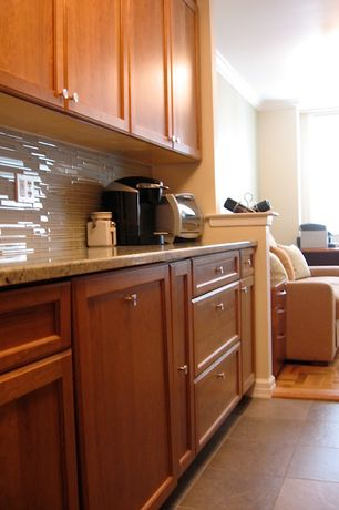 Traditional Kitchen with One-wall, Flat panel cabinets, Bodesi solid rock tile, Simple granite counters, Glass Tile, Flush