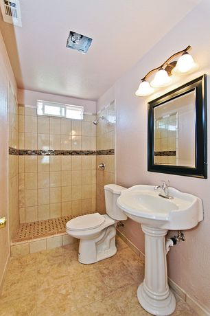 Traditional Full Bathroom with Fluted column base sink, Traditional/casual bronze bathroom lighting, flush light