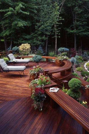 Rustic Deck with Deck Railing, Raised beds, Fence