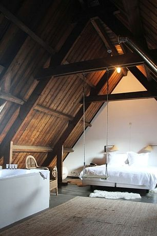 Rustic Master Bedroom with Interior swing, Jute rug, Elm Wood Reclaimed Elk Ridge Rustic Wood Paneling, A-frame, Skylight