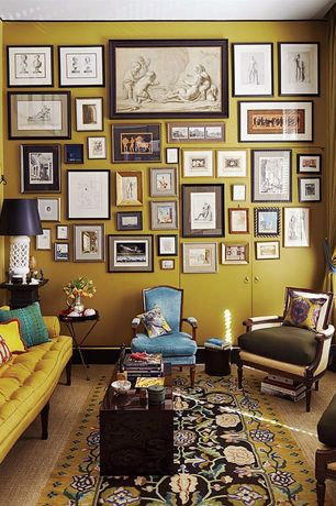 Contemporary Living Room with Massoud Cantrell Leather Chair, Area rug, Anthropologie Atelier Chesterfield Sofa, Gallery wall