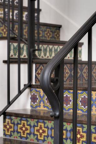Eclectic Staircase with Rustic wood stairs, La fuente tile talavera tile with yellow cross, Wrought iron railing, Paint 1