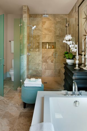 Contemporary Master Bathroom with drop in bathtub, Standard height, Rain shower, Shower, frameless showerdoor, Wall Tiles