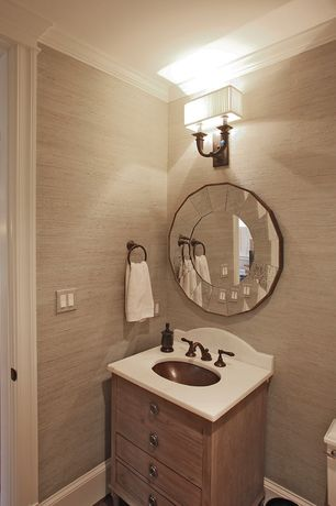 Traditional Powder Room with Corian counters, Linen Texture VI Wallcovering, travertine floors, Inset cabinets, Crown molding