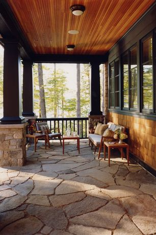 Cottage Porch with Safavieh burbank 5 piece seating group, Screened porch, double-hung window, Deck Railing