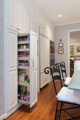 Traditional Pantry with Crown molding, Hardwood floors, Wainscotting, interior wallpaper, Built-in bookshelf, can lights