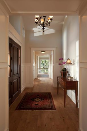 Traditional Hallway with Wainscotting, Virginia oriental area rug (3'3 x 4'11), Wrought iron chandelier, Hardwood floors