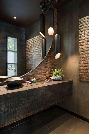 Contemporary Powder Room with Standard height, Pendant light, Powder room, Vessel sink, Paint 1, can lights, full backsplash