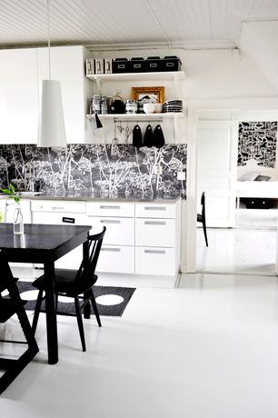 Contemporary Kitchen with Cole & son cow parsley, Crate & barrel willa black side chair, Beadboard ceiling