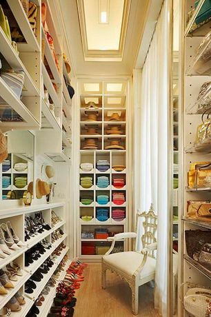 Traditional Closet with Built-in bookshelf, Hardwood floors