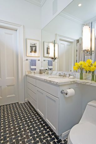 Traditional Full Bathroom with Powder room, ceramic tile floors, Undermount sink, Simple Marble, specialty door, Wall sconce