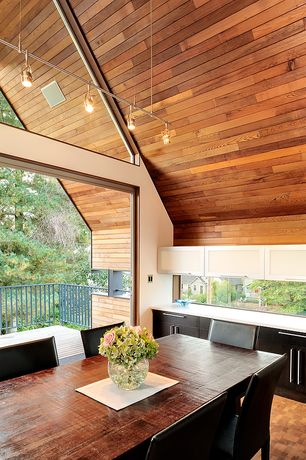 Modern Dining Room with Built-in bookshelf, Hardwood floors, High ceiling, picture window, flush light