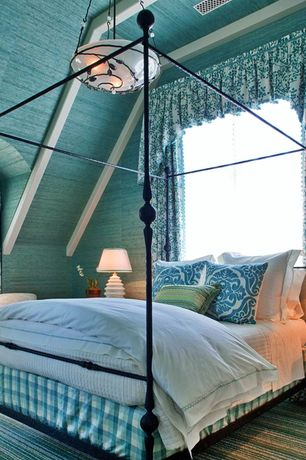 Country Guest Bedroom with interior wallpaper, Exposed beam, Pendant light, Somerset bay boardwalk beige/blue area rug