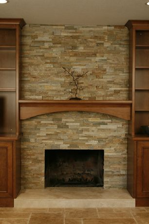 Traditional Living Room with Ms international golden honey ledger panel 6 in. x 24 in. natural quartzite wall tile