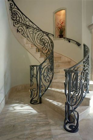 Mediterranean Staircase with curved staircase, Standard height, Columns, simple granite floors