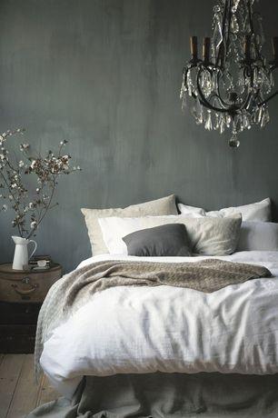 Contemporary Master Bedroom with Hardwood floors, West Elm Belgian Linen Duvet Cover - White, Chandelier