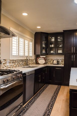 Modern Kitchen with Simple granite counters, Kitchen island, L-shaped, Millstead, random length solid real hardwood flooring