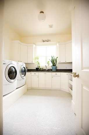 Contemporary Laundry Room with specialty door, Merola Tila Metro Hex Glossy White Porcelain Mosaic Floor and Wall Tile