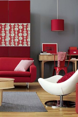 Contemporary Living Room with High ceiling, Celine Desk, Carlisle Dining Chair Set of 2 Red, Pendant light, Hardwood floors