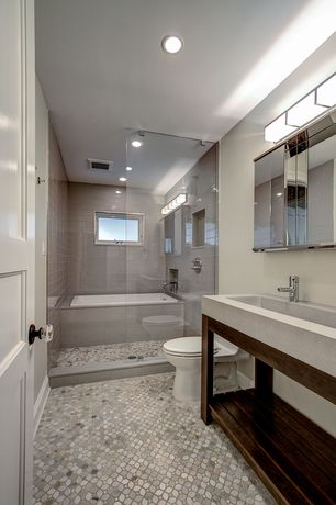 Modern Full Bathroom with drop in bathtub, tiled wall showerbath, no showerdoor, penny tile floors, Paint, Casement, Bathtub