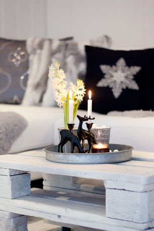 Contemporary Living Room with Zazzle Ikat Snowflake, Terrain Habit & Form Circle Tray, Dark Zinc, Reclaimed pallet table