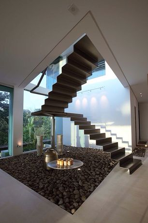 Modern Staircase with Vigoro 0.4 cu. ft. Mexican Beach Pebbles, Ecostudio Architects Triangulo House Custom Accordion Stairs