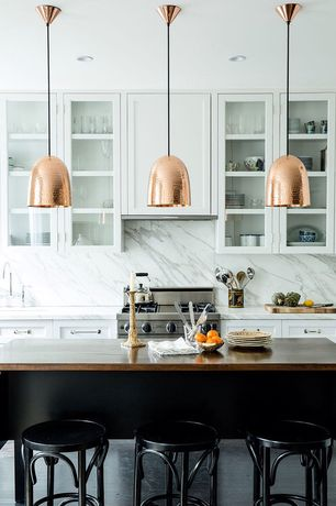 Transitional Kitchen with Custom Wood Kitchen Countertops, High ceiling, Complex Marble, Dura Supreme Cabinetry Hanover Panel