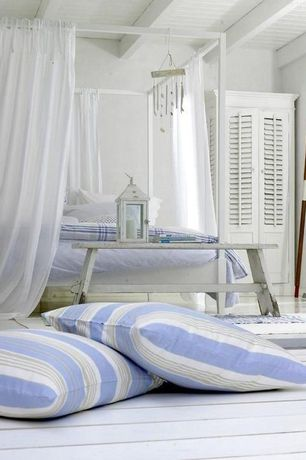 Cottage Master Bedroom with Hardwood floors, Built-in bookshelf, This next decorative throw pillow, Exposed wood ceiling