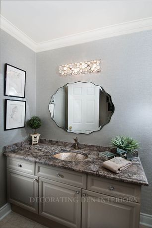 Traditional Full Bathroom with Decor Wonderland Frameless Diamond Wall Mirror, Kitchen Craft, Bbeckett Cabinet Door Style