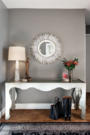 """Modern Entryway with Arteriors Sydney Marble Lamp, Janice Minor - White """"Porcupine Quill"""" Mirror, Hardwood floors"""
