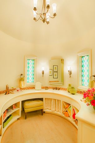 Eclectic Master Bathroom with Hardwood floors, Vintage modern yellow tufted footstool, Kichler malina 1 light wall sconce