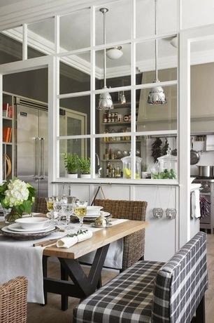 Cottage Dining Room with Crown molding, Standard height, picture window, Industrial age metal pendant, Paint 1, Paint