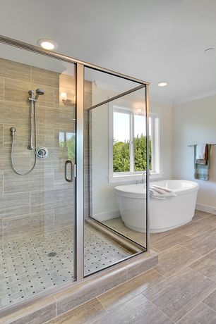 Contemporary Master Bathroom with Crown molding, wall-mounted above mirror bathroom light, Freestanding, Standard height