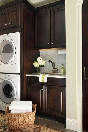 Traditional Laundry Room with full backsplash, Paint, Undercabinet lighting, simple marble tile floors, Undermount sink