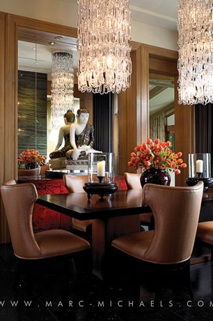Contemporary Dining Room with Chandelier, Crown molding, Round glass chain chandelier, Calligaris Park Table by S.T.C.