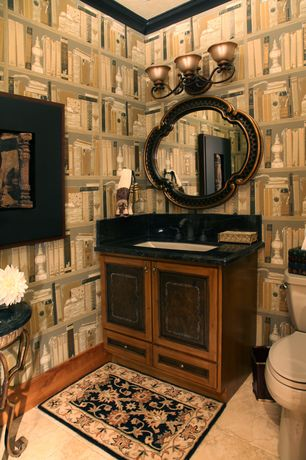 Eclectic Powder Room with Soapstone counters, travertine floors, Soapstone, interior wallpaper, Powder room, Inset cabinets