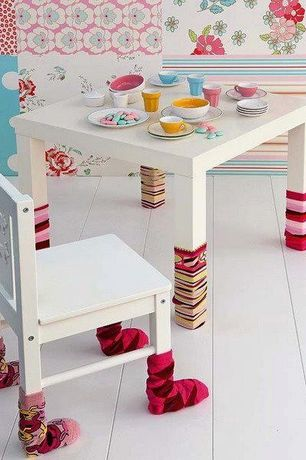 Eclectic Kids Bedroom with Hardwood floors, interior wallpaper, Art desk