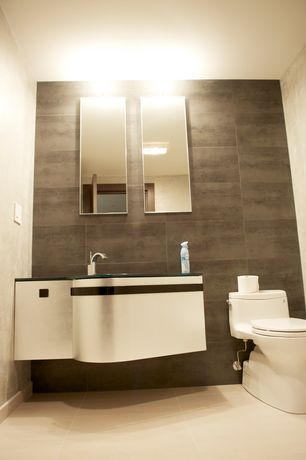 """Modern Powder Room with Salerno Porcelain Tile - Concrete Series Dark Gray / 12""""x24"""", Powder room, Soapstone counters, Paint"""